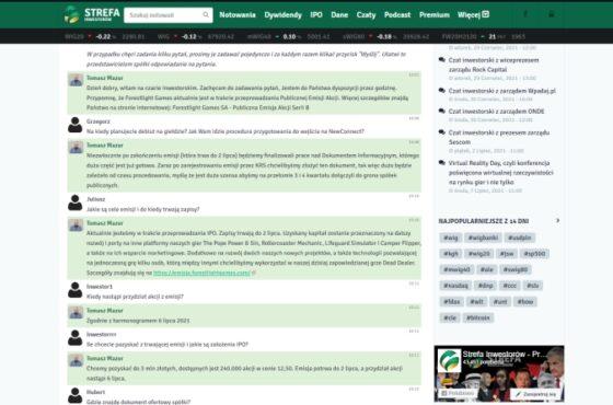 Relacja czatu z prezesem Forestlight Games | strefainwestorow.pl